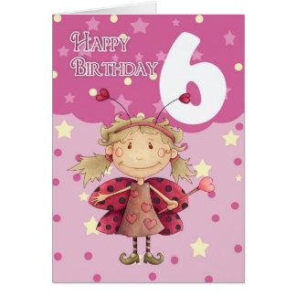 6th birthday card with cute ladybug fairy