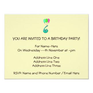 "6th Birthday Cartoon, Teal Green and Fuchsia Pink. 4.25"" X 5.5"" Invitation Card"