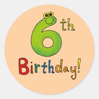 6th Birthday! Classic Round Sticker