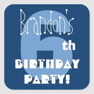 6th Birthday Custom Name Navy and Baby Blue Square Sticker