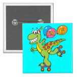 6th Birthday Dinosaur Button