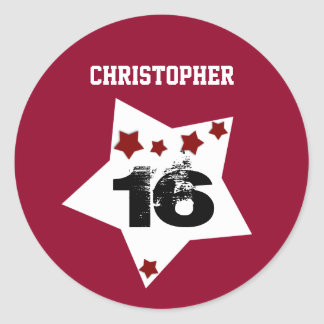 6th Birthday Festive Stars RED and BLACK A02 Round Sticker