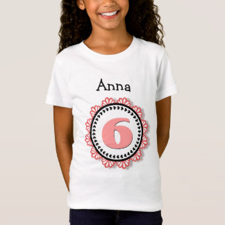6th Birthday Girl Big Number Name Lace V58A T-Shirt