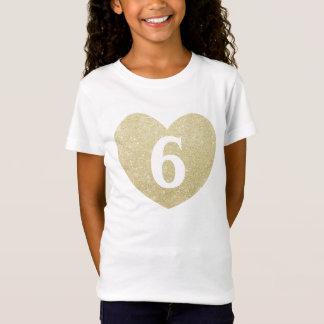 6th Birthday Girl Glitter heart Personalized T-Shirt