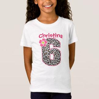 6th Birthday Girl Hot Pink & leopard print T-Shirt