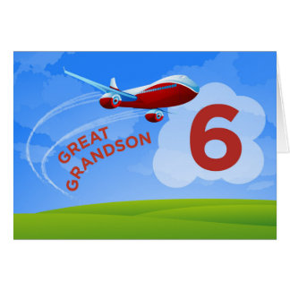 6th Birthday, Great Grandson, Red Airplane Card