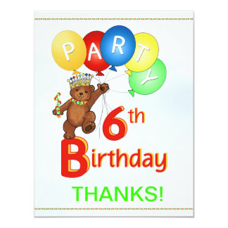 6th Birthday Party Bear Thank You Card