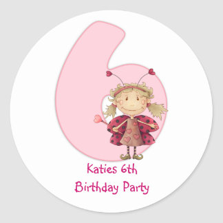 6th birthday party customizable sticker - cute