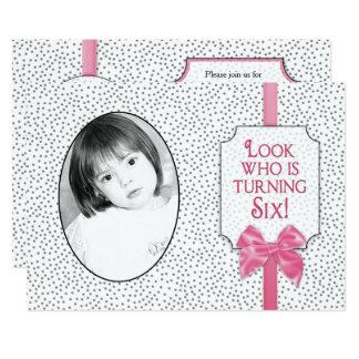 6th BIRTHDAY Party Invitation -Bows & Polka Dots