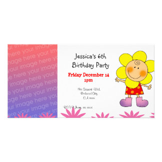 6th birthday party invitations (flower girl) picture card