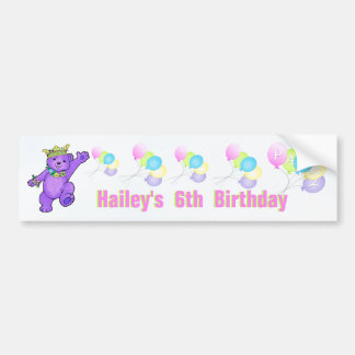 6th Birthday Party Purple Princess Bear Car Bumper Sticker