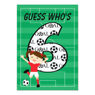 6th Birthday Party Red and White Soccer Girl Card