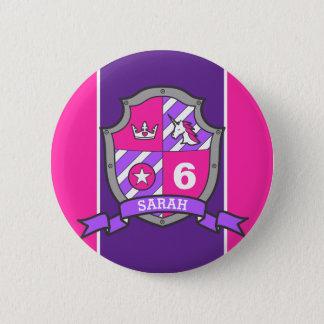 6th Birthday pink purple knights princess age pin