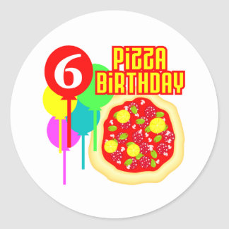 6th Birthday Pizza Birthday Round Sticker