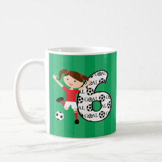 6th Birthday Red and White Soccer Girl 1 Coffee Mug