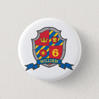 6th Birthday red blue knights shield age button