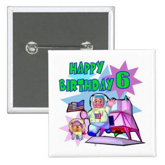 6th Birthday Space Birthday Pinback Button