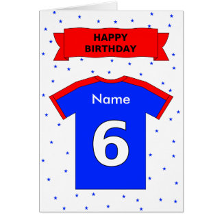 6th birthday sports t-shirt add a name card