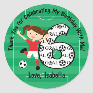 6th Birthday Thank You Red and White Soccer Girl Round Sticker