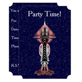 6th Dimension Rocket Ship Invitations