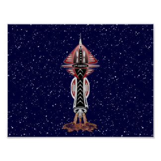 6th Dimension Rocket Ship Poster Print