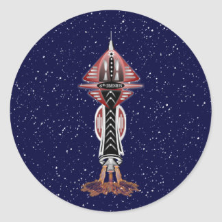 6th Dimension Rocket Ship Stickers
