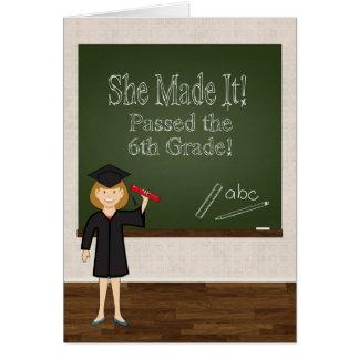 6th Grade Graduate w/ Cartoon Girl and Chalkboard Card