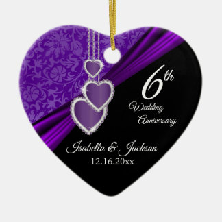6th or 33rd Amethyst Purple Wedding Anniversary Ceramic Ornament
