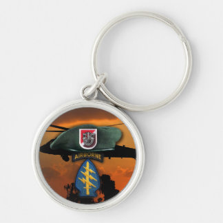 6th SF SFG Special Forces Group Green Berets Nam Silver-Colored Round Keychain