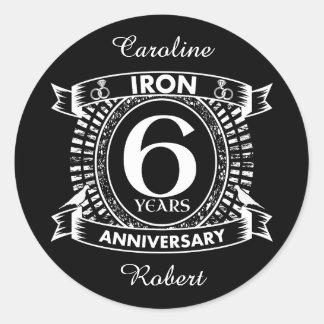 6th wedding anniversary distressed crest classic round sticker