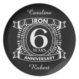 6th wedding anniversary distressed crest plate