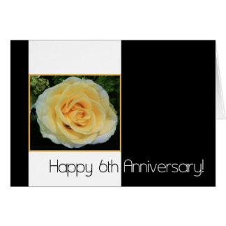 6th Wedding Anniversary - Yellow Rose Card