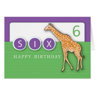 6th Year Birthday Giraffe Card