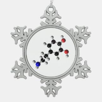 6Tymes9 White Dopemine Snowflake Pewter Snowflake Ornament