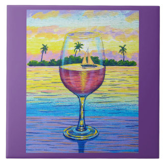 6x6 Tile,  A Glass of Wine, a World Away! Tiles