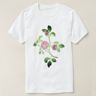 6x Plus Size Pink Rose White T-Shirt