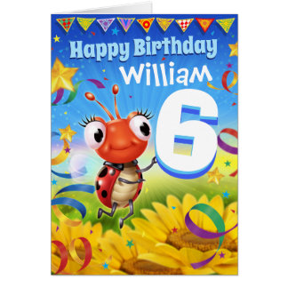 6yrs Custom birthday card Little Ladybug range
