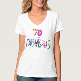 70 and Fabulous Birthday Colourful Design T-Shirt