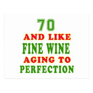 70 and like fine wine birthday designs postcard