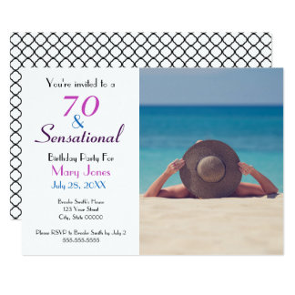70 and Sensational 70th Birthday Party Invitation