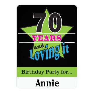 70 ans et l'aimer ! soixante-dixième anniversaire carton d'invitation  12,7 cm x 17,78 cm