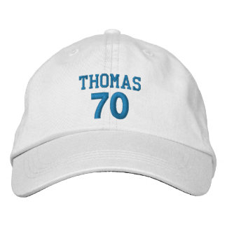 70 Birthday Custom Name BLUE Embroidery V01D Embroidered Hat
