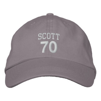 70 Birthday Custom Name WHITE Embroidery V01D Embroidered Hat