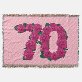 70 cute pink rose flowers 70th birthday blanket throw blanket