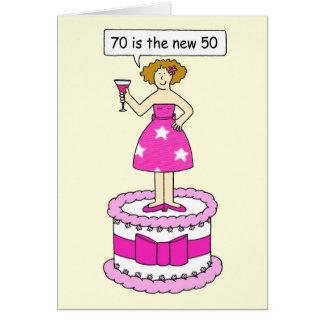 70 est le nouvel anniversaire de 50 femelles carte de vœux