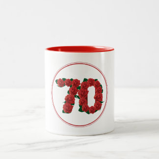 70 Number 70th Birthday Anniversary red mug