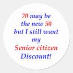 70 Senior Citizen Round Sticker