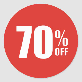 70% Seventy Percent OFF Discount Sale Sticker