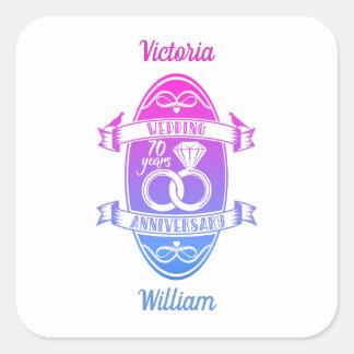 70 Years 70th  wedding anniversary Square Sticker