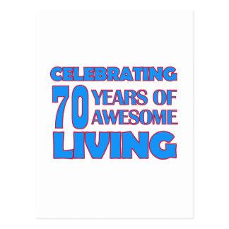 70 years old birthday designs postcard